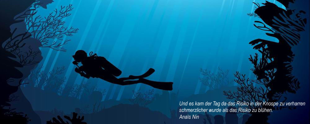 Coral reef with silhouette of diver on blue sea background